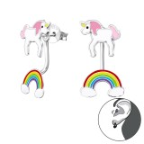 Unicorn And Rainbow - 925 Sterling Silver Stud Earring Sets  SD30420