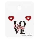 Heart Ear Studs With Crystal On Love You Card - 925 Sterling Silver Stud Earring Sets  SD34118