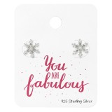 Snowflake Ear Studs With Cubic Zirconia On You Are Fabulous Card - 925 Sterling Silver Stud Earring Sets  SD34130