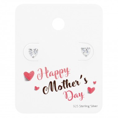 Heart Ear Studs On Happy Mother's Day Card - 925 Sterling Silver Stud Earring Sets  SD35875