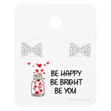 Bow Ear Studs On Motivational Quote Card - 925 Sterling Silver Stud Earring Sets  SD35886