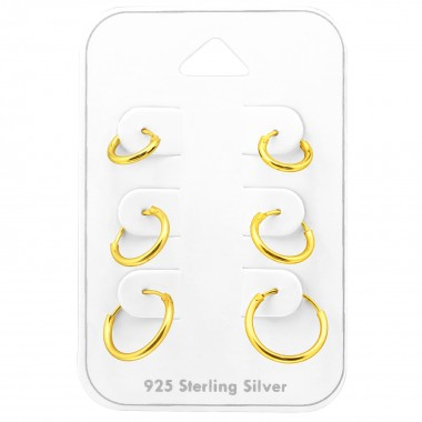 Hoops 8Mm, 10mm And 12mm - 925 Sterling Silver Stud Earring Sets  SD38540