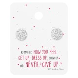 Round Ear Studs On Motivational Quote Card - 925 Sterling Silver Stud Earring Sets  SD35885
