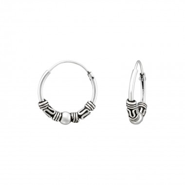 14mm - 925 Sterling Silver Bali Hoops SD39697