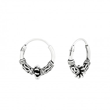 12mm - 925 Sterling Silver Bali Hoops SD39909