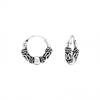 10mm - 925 Sterling Silver Bali Hoops SD40451