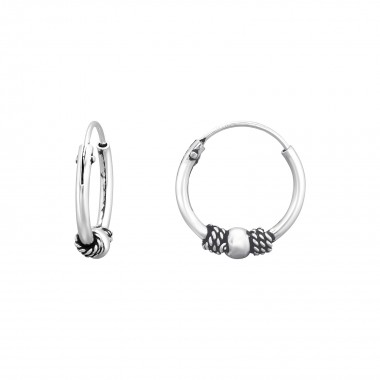 12mm - 925 Sterling Silver Bali Hoops SD40993