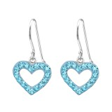 Heart - 925 Sterling Silver Earrings with Crystal SD13862