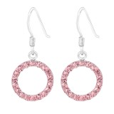 Round - 925 Sterling Silver Earrings with Crystal SD15412