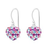 Heart - 925 Sterling Silver Earrings with Crystal SD16469