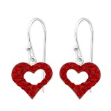 Heart - 925 Sterling Silver Earrings with Crystal SD16471