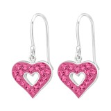 Heart - 925 Sterling Silver Earrings with Crystal SD18985
