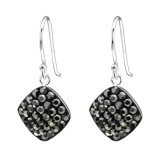 Square - 925 Sterling Silver Earrings with Crystal SD27293