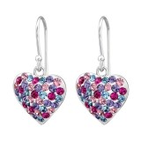 Heart - 925 Sterling Silver Earrings with Crystal SD28751