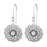 Vintage - 925 Sterling Silver Earrings with Crystal SD31389