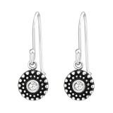 Oxidized - 925 Sterling Silver Earrings with Crystal SD33841