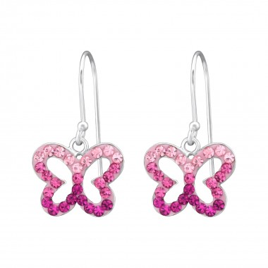 Butterfly - 925 Sterling Silver Earrings with Crystal SD35058
