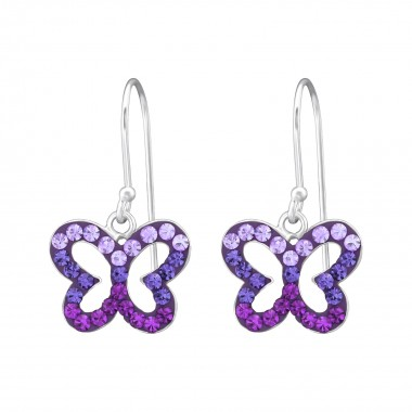 Butterfly - 925 Sterling Silver Earrings with Crystal SD35059