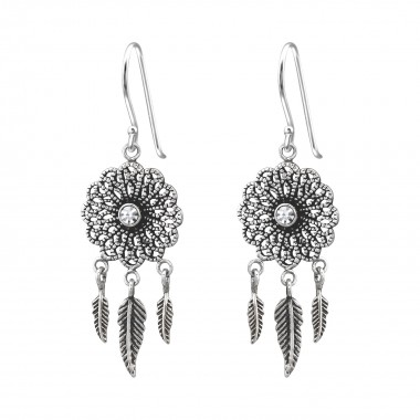 Vintage - 925 Sterling Silver Earrings with Crystal SD35307
