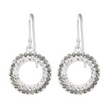 Circle - 925 Sterling Silver Earrings with Crystal SD36546
