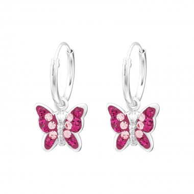 Butterfly - 925 Sterling Silver Earrings with Crystal SD38550