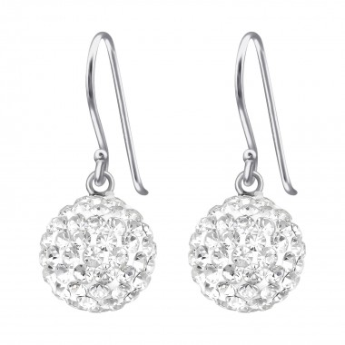 Round - 925 Sterling Silver Earrings with Crystal SD39774