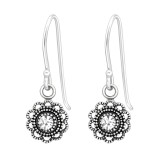 Flower - 925 Sterling Silver Earrings with Crystal SD41035