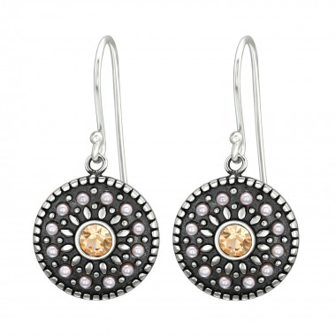 Round - 925 Sterling Silver Earrings with Crystal SD41037