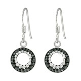 Round - 925 Sterling Silver Earrings with Crystal SD41038