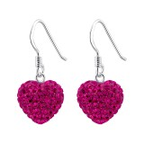 Heart - 925 Sterling Silver Earrings with Crystal SD9750