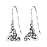 Celtic - 925 Sterling Silver Earrings with CZ SD31246