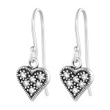 Heart - 925 Sterling Silver Earrings with CZ SD36814