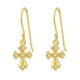 Cross - 925 Sterling Silver Earrings with CZ SD37264