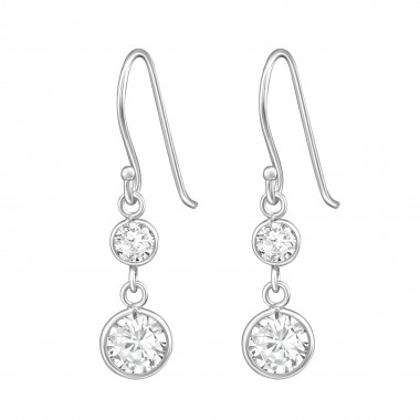 Hanging Round - 925 Sterling Silver Earrings with CZ SD39656