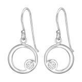 Circle - 925 Sterling Silver Earrings with CZ SD39657