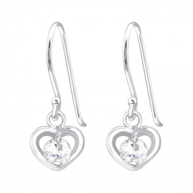 Heart - 925 Sterling Silver Earrings with CZ SD39775
