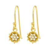 Flower - 925 Sterling Silver Earrings with CZ SD40137