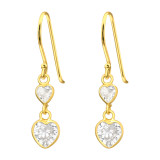 Hanging Hearts - 925 Sterling Silver Earrings with CZ SD42071