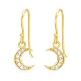Moon - 925 Sterling Silver Earrings with CZ SD42072