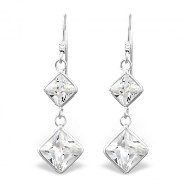 Hanging Squares - 925 Sterling Silver Earrings with CZ SD440
