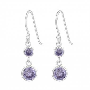 Hanging Circles - 925 Sterling Silver Earrings with CZ SD812