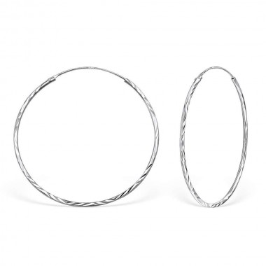 40mm notched - 925 Sterling Silver Hoop Earrings SD15042