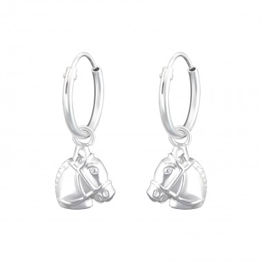 Hanging Horse - 925 Sterling Silver Hoop Earrings SD36979