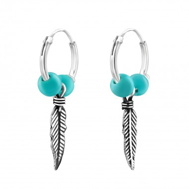 Hanging Feather - 925 Sterling Silver Hoop Earrings SD38554