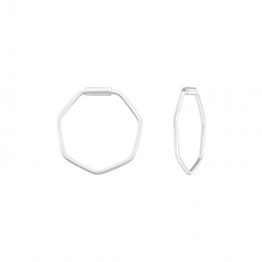 Geometric - 925 Sterling Silver Hoop Earrings SD39123