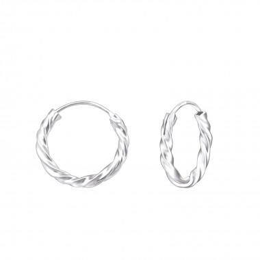 14mm bali - 925 Sterling Silver Hoop Earrings SD556