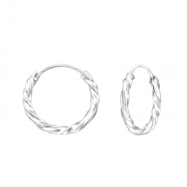 16mm bali - 925 Sterling Silver Hoop Earrings SD557