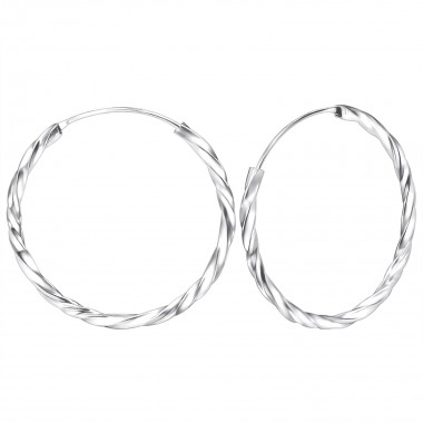 30mm bali - 925 Sterling Silver Hoop Earrings SD560