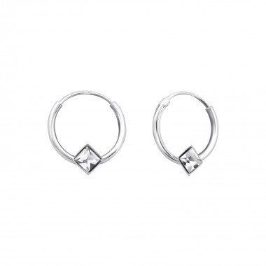 12mm single stone - 925 Sterling Silver Hoop Earrings SD824