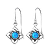Flower Synthetic - 925 Sterling Silver Earrings with Gemstones SD23629